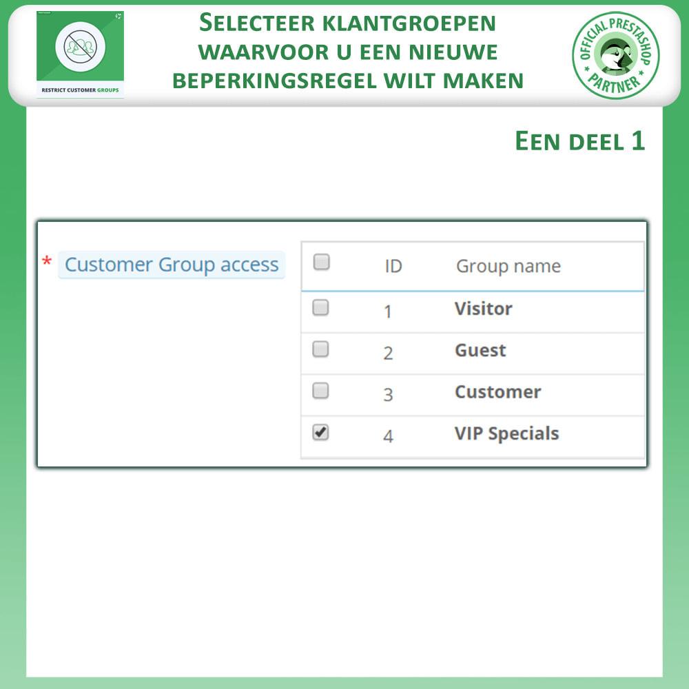 module - Bijkomende Informatie - Beperk producten, categorie en CMS op klantgroepen - 4