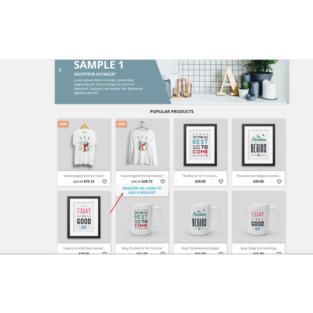 module - Wishlist & Gift Card - Wishlist with drop down list - 7