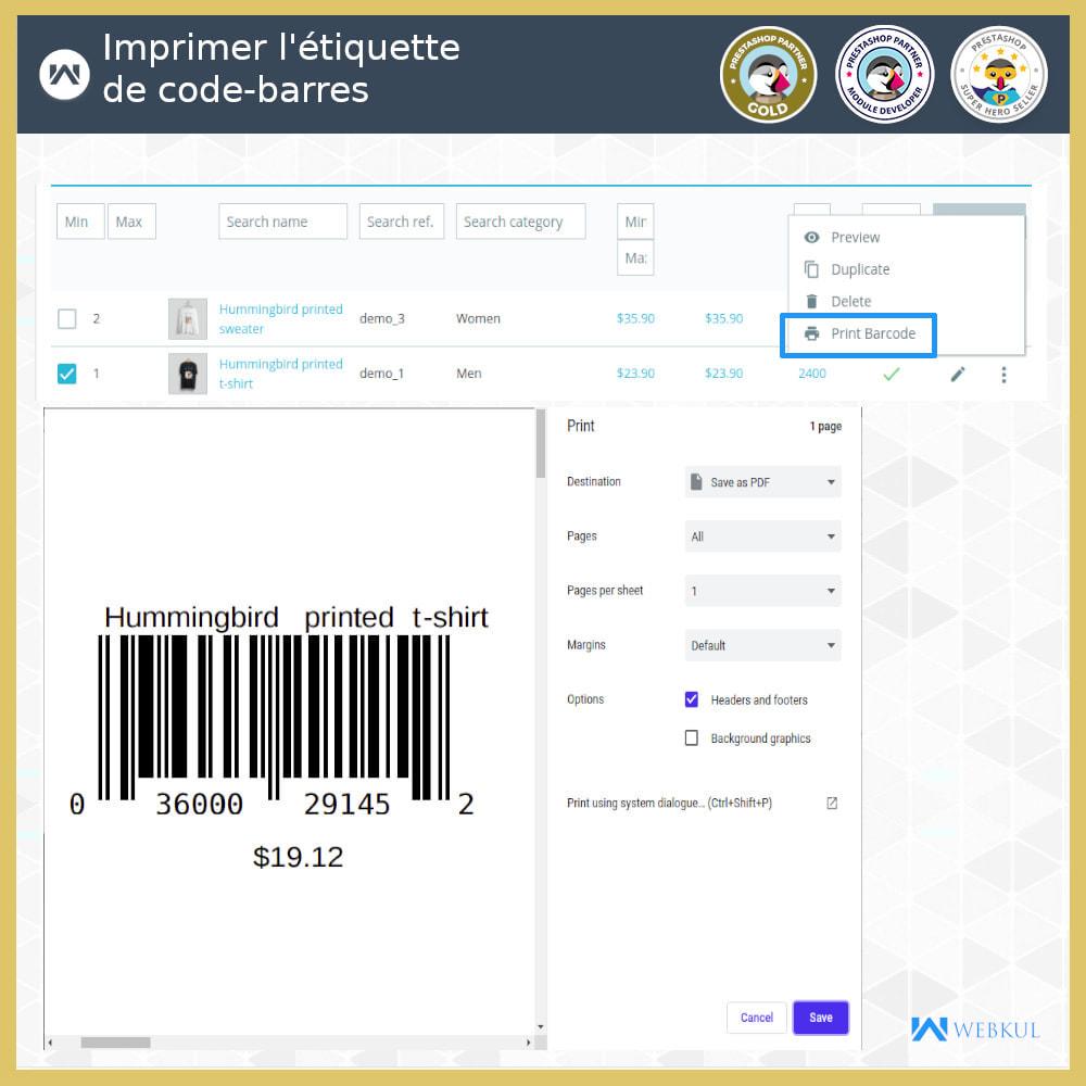 module - Préparation & Expédition - Étiquette code-barres de produit | générateur de code - 3