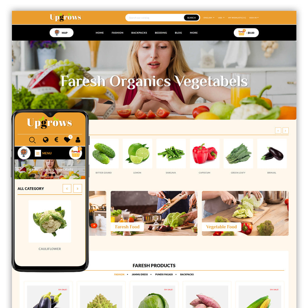 theme - Продовольствие и рестораны - Upgrows - Organic Vegetable Store - 1