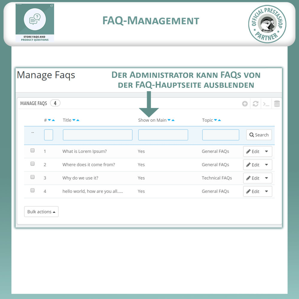module - FAQ (Häufig gestellte Fragen) - FAQs + Produkt Fragen + Geschäft FAQs und Produkt FAQs - 11