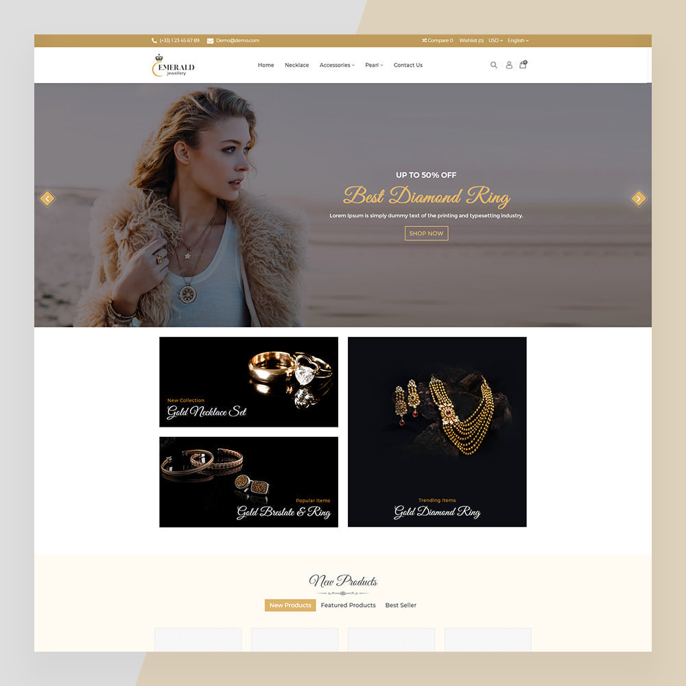 theme - Sieraden & Accessoires - Emerald Jewelry - Jewellery & Accessories Template - 3
