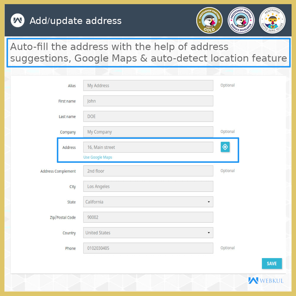 module - International & Localization - Auto-fill Address Form | Google Addresses - 5