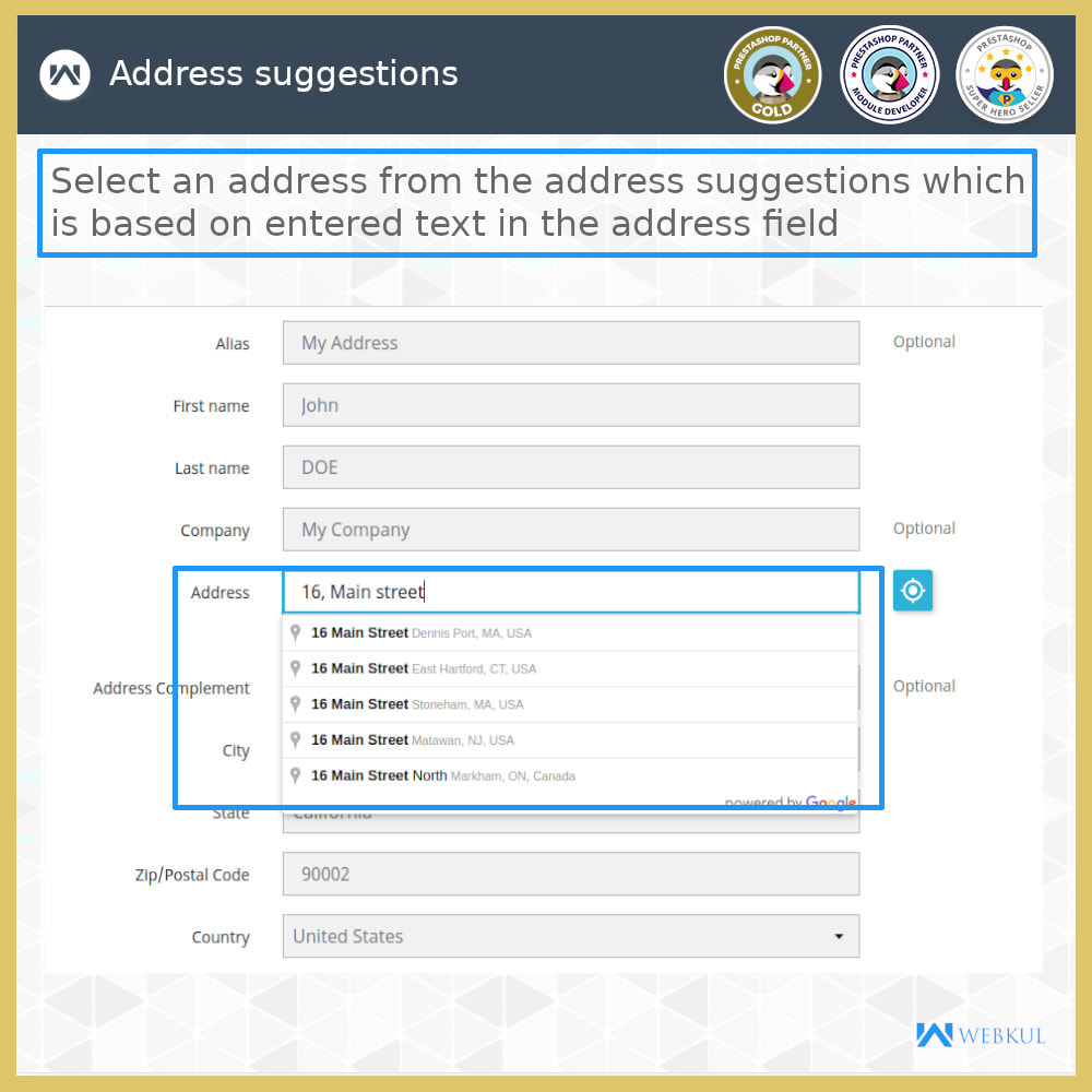 module - International & Localization - Auto-fill Address Form | Google Addresses - 6