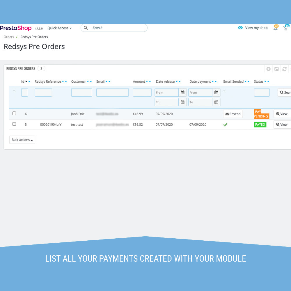 module - Paiement par Carte ou Wallet - Redsys POS, Payment by phone and email without orders - 6