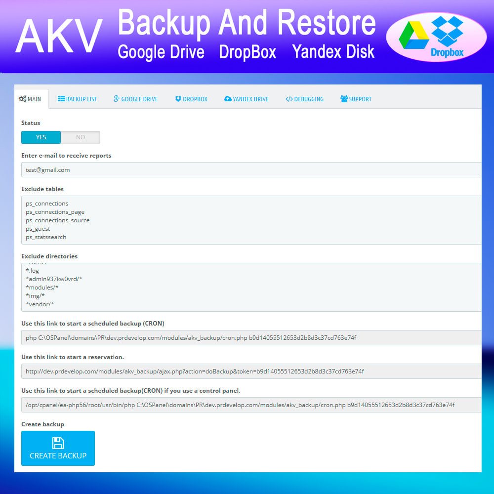 module - Data migration & Backup - AKV Backup and Restore (Google Drive, DropBox, Yandex) - 2