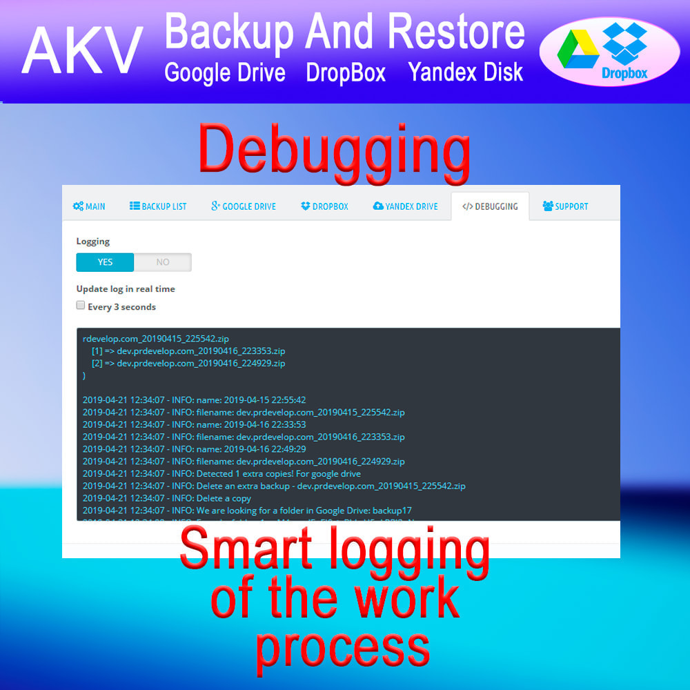module - Data migration & Backup - AKV Backup and Restore (Google Drive, DropBox, Yandex) - 8