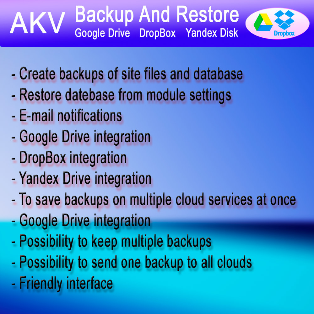 module - Data migration & Backup - AKV Backup and Restore (Google Drive, DropBox, Yandex) - 9