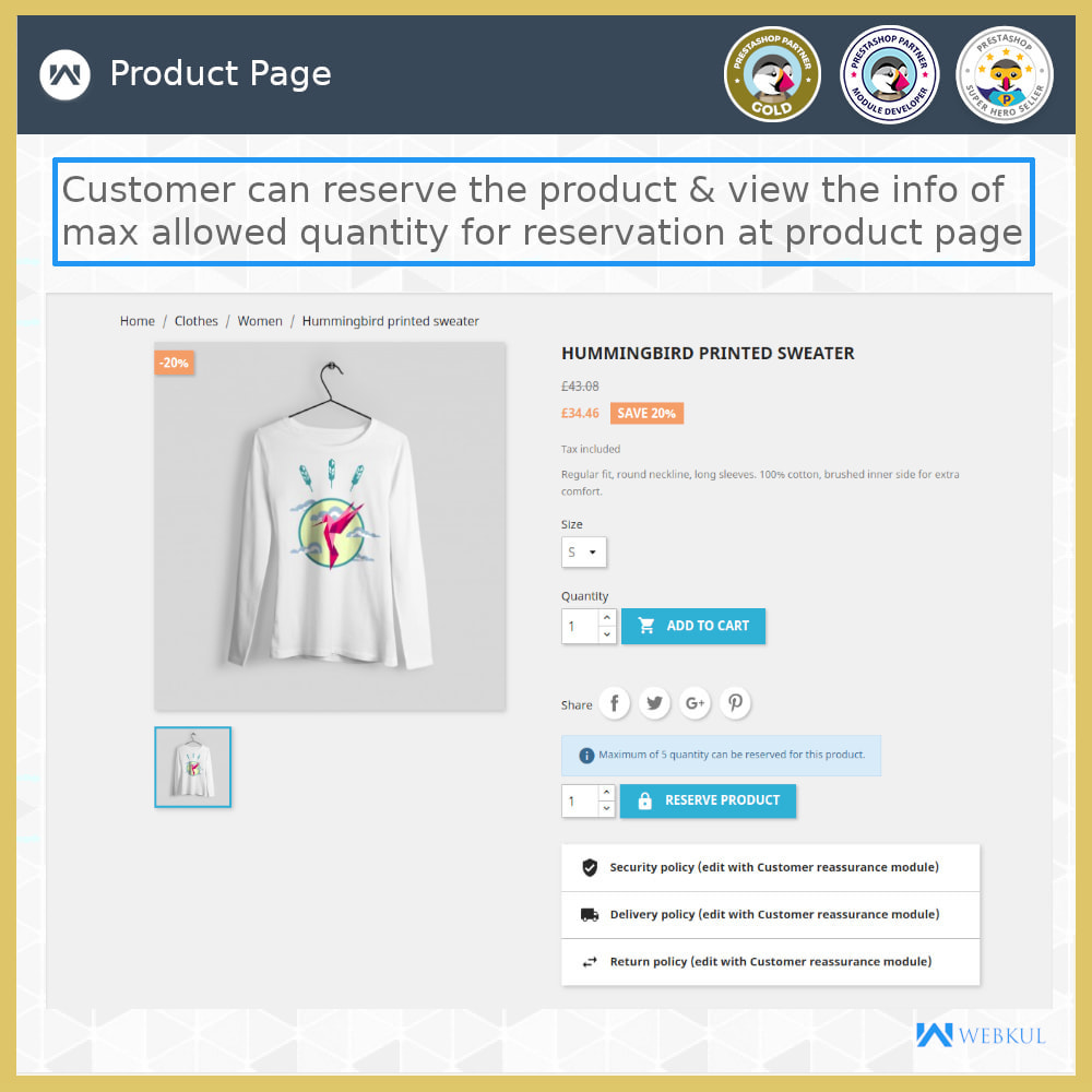 module - Additional Information & Product Tab - Product Reservation - 3