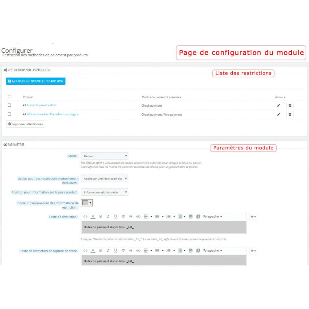 module - Autres moyens de paiement - Restriction des modes de paiement par produit - 1