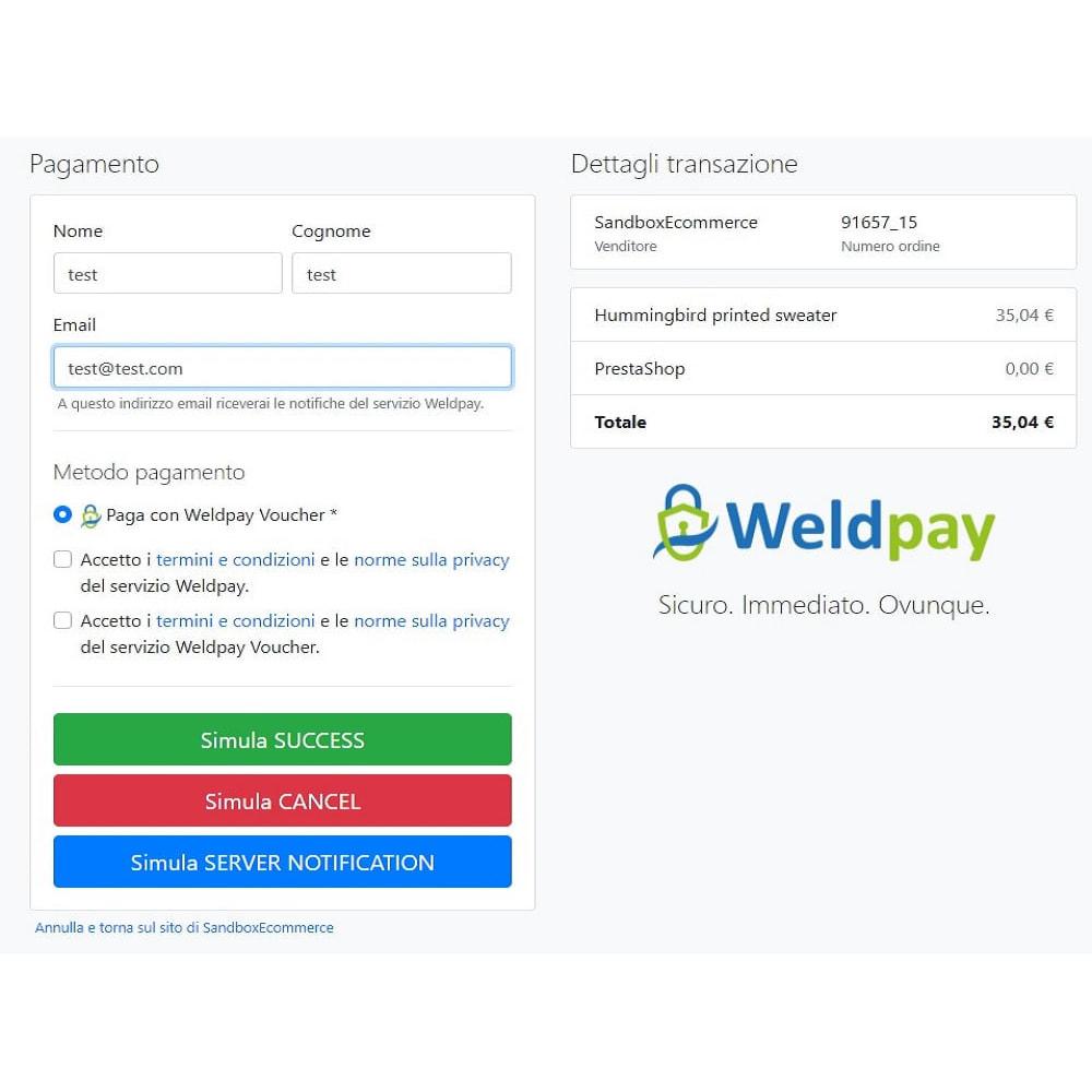 module - Pagamento con Carta di Credito o Wallet - Gateway di pagamento WeldPay - 4