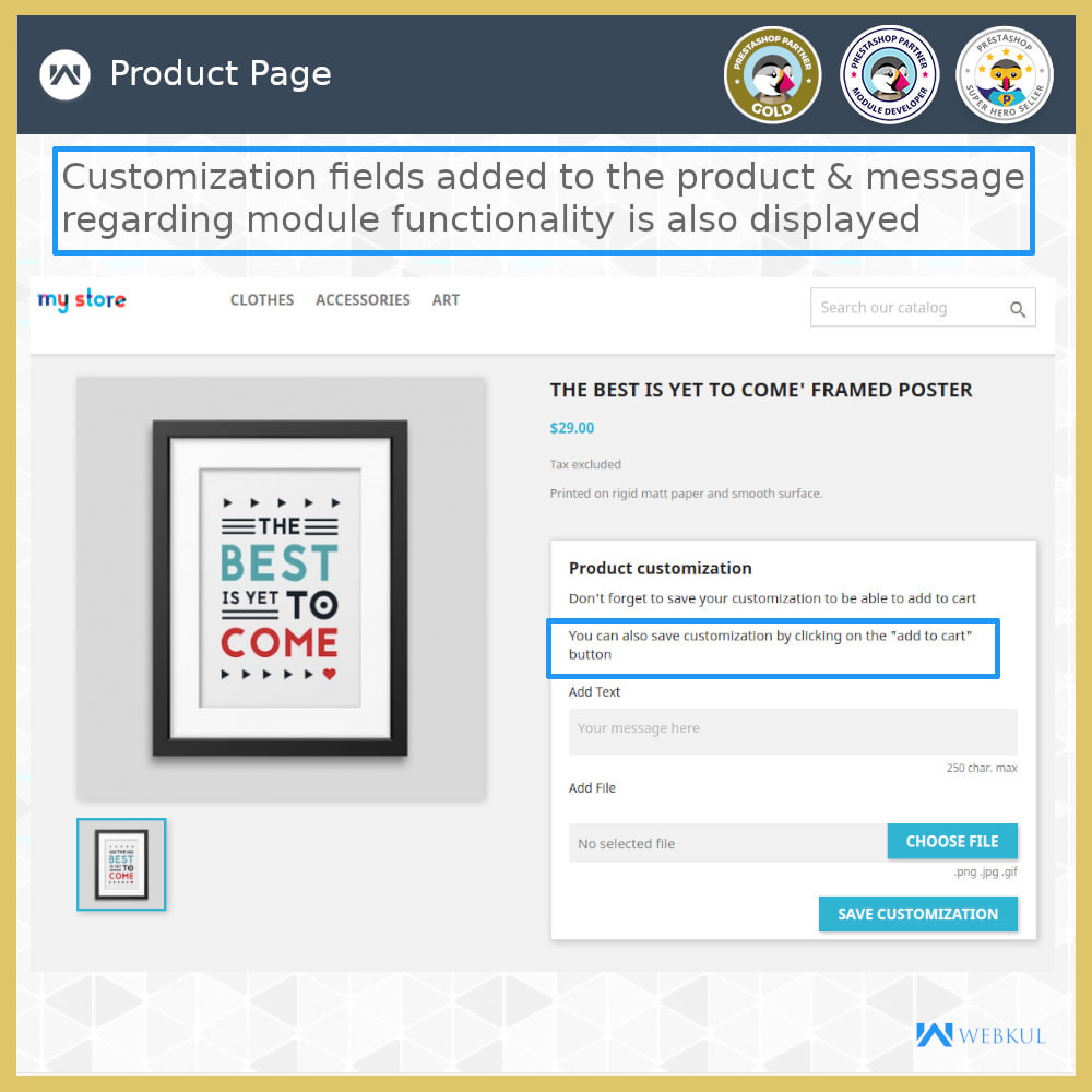 module - Registration & Ordering Process - Add Product with Customization Directly into Cart - 3