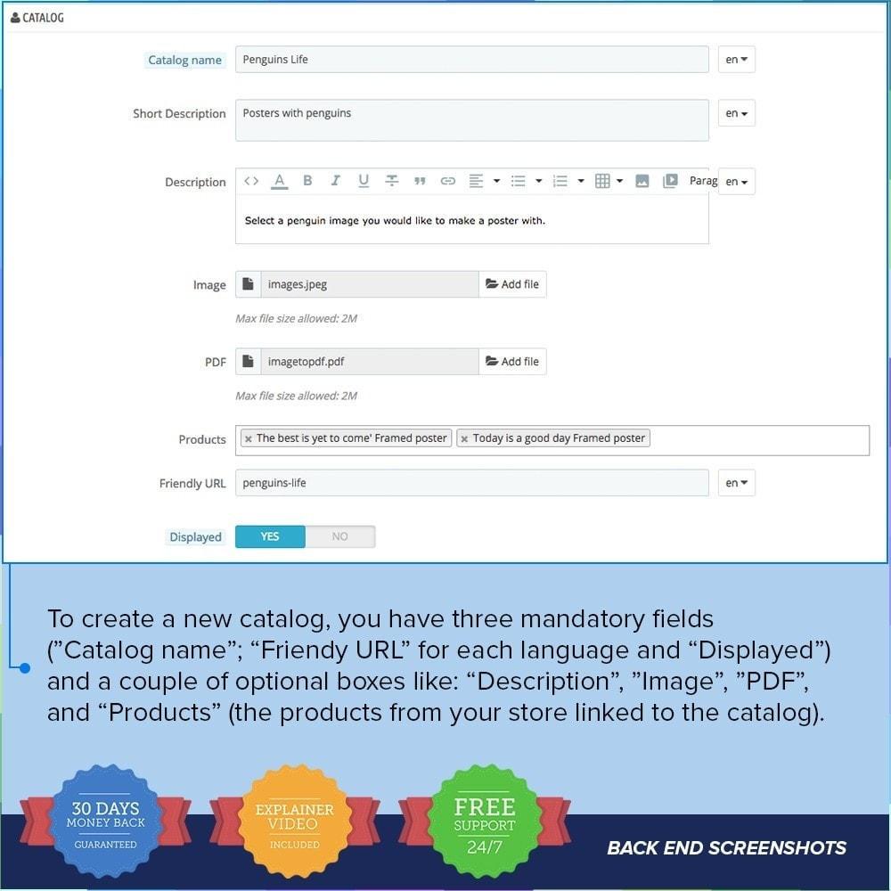 module - Information supplémentaire & Onglet produit - Catalogue PDF sur la page produit - 7