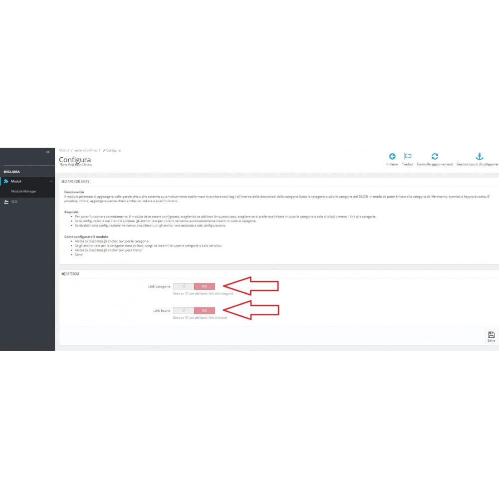 module - SEO (Indicizzazione naturale) - Inserimento automatico di link interni SEO - 1