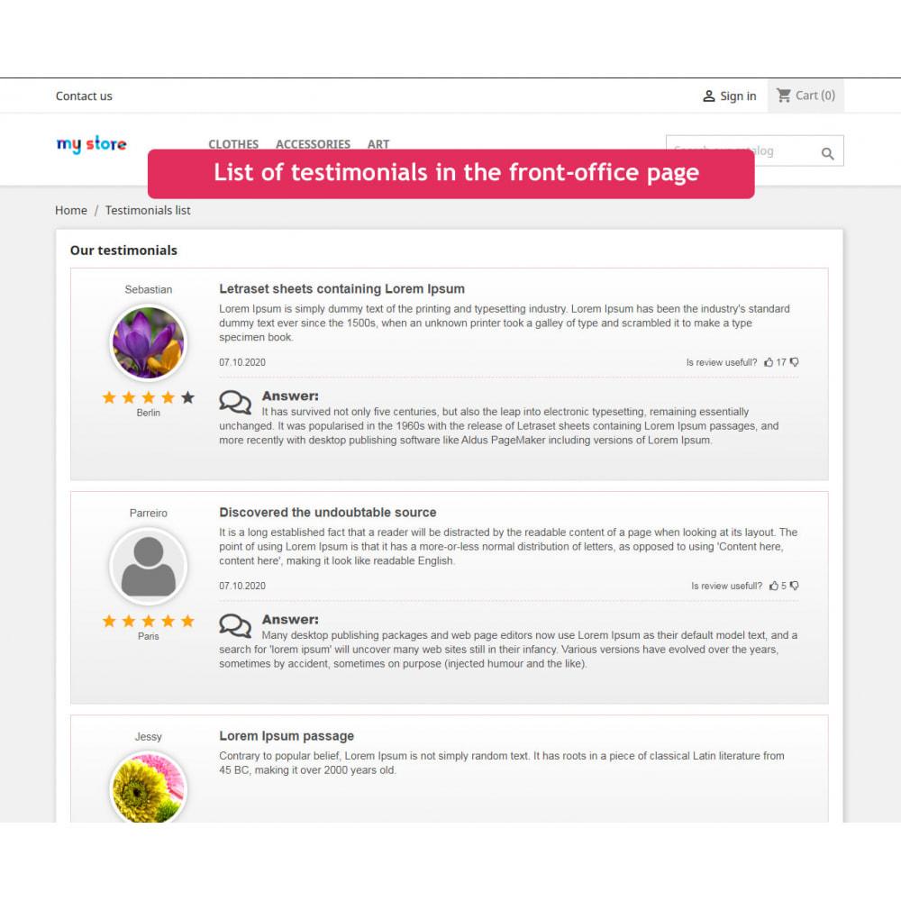 module - Opiniões de clientes - Testimonials slider with list page module - 3