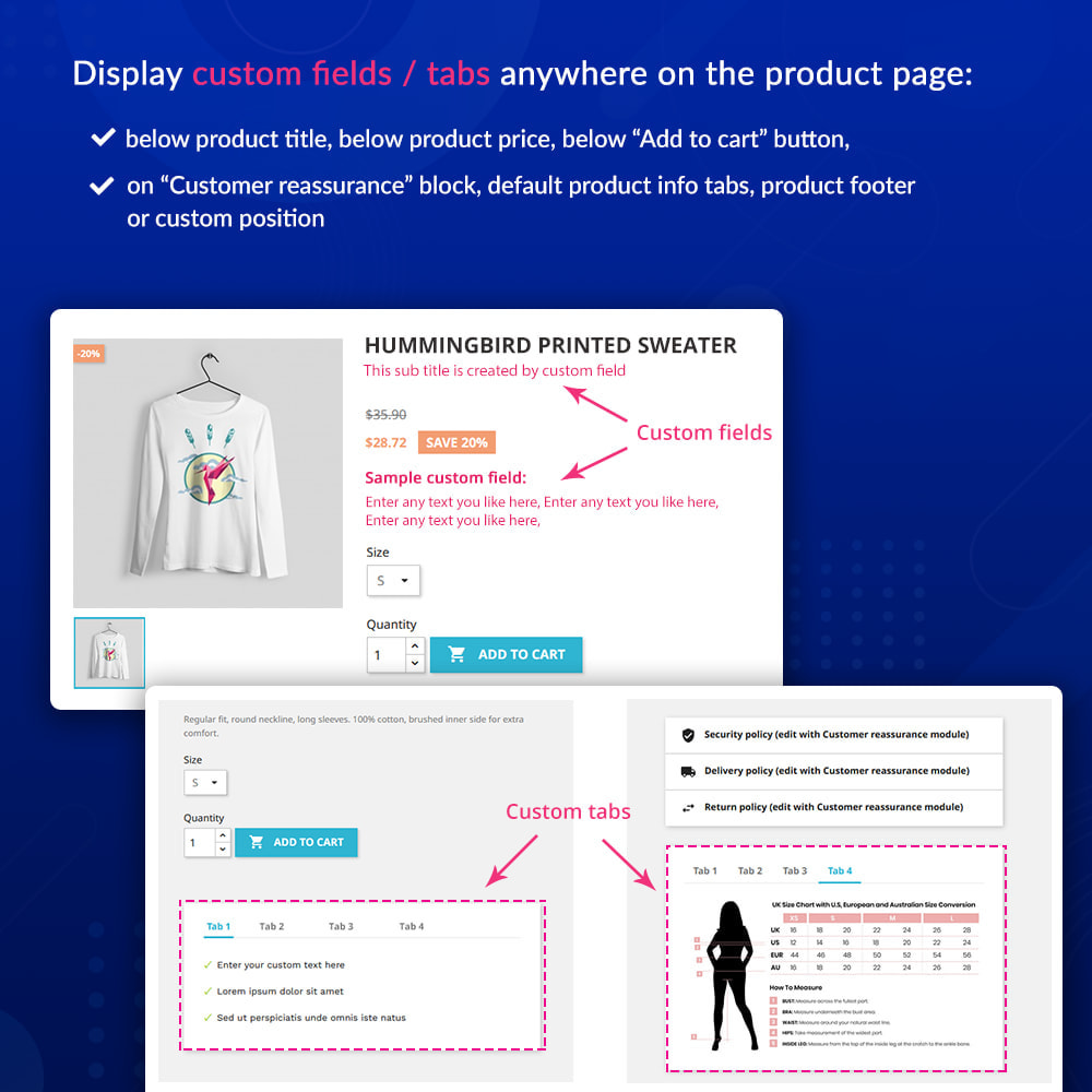 module - Additional Information & Product Tab - Custom fields & tabs on product page - 2