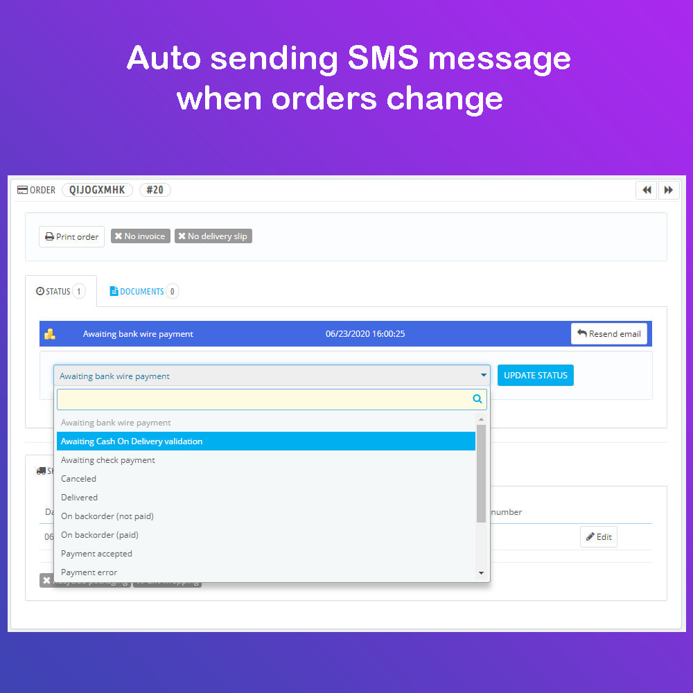 module - Newsletter & SMS - SMS Service PRO - Login/Reset password - Ordine via SMS - 10