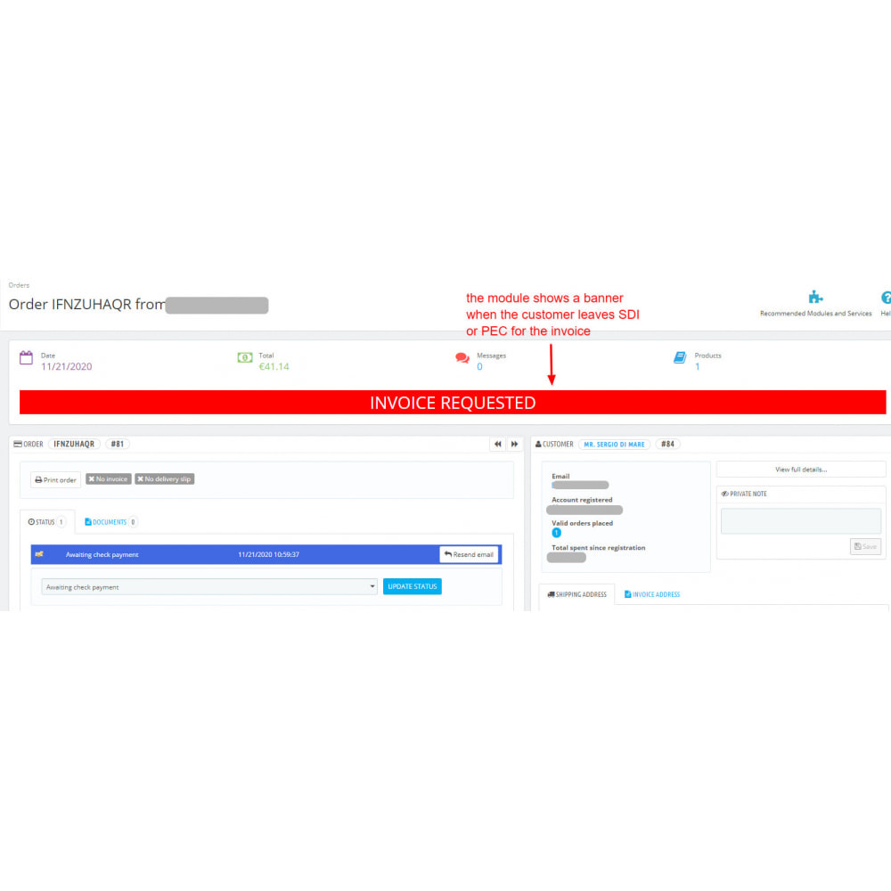 module - Payment by Invoice - Add PEC and SDI fields in the customer address form - 2