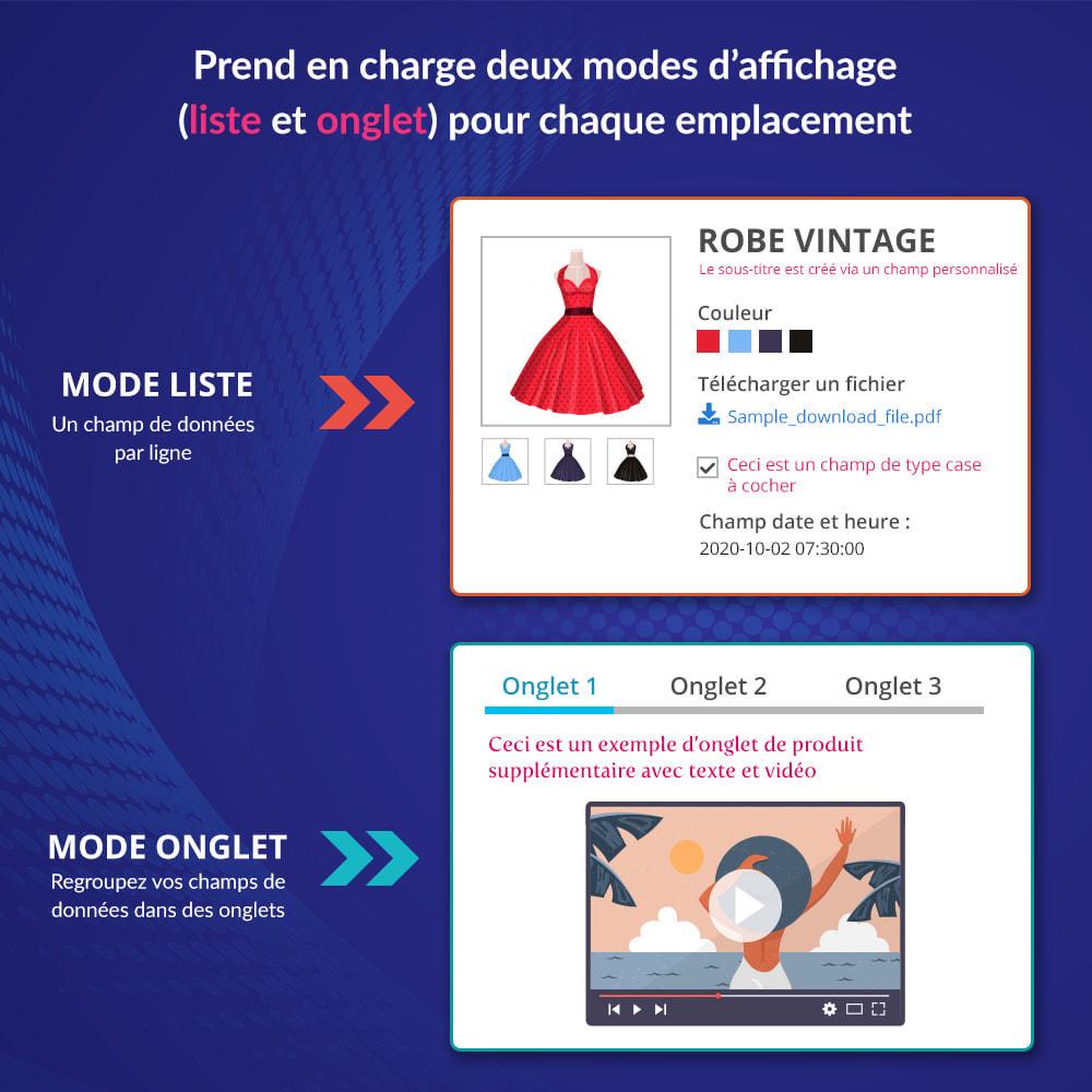 module - Information supplémentaire & Onglet produit - Onglets et champs personnalisés sur la page du produit - 3