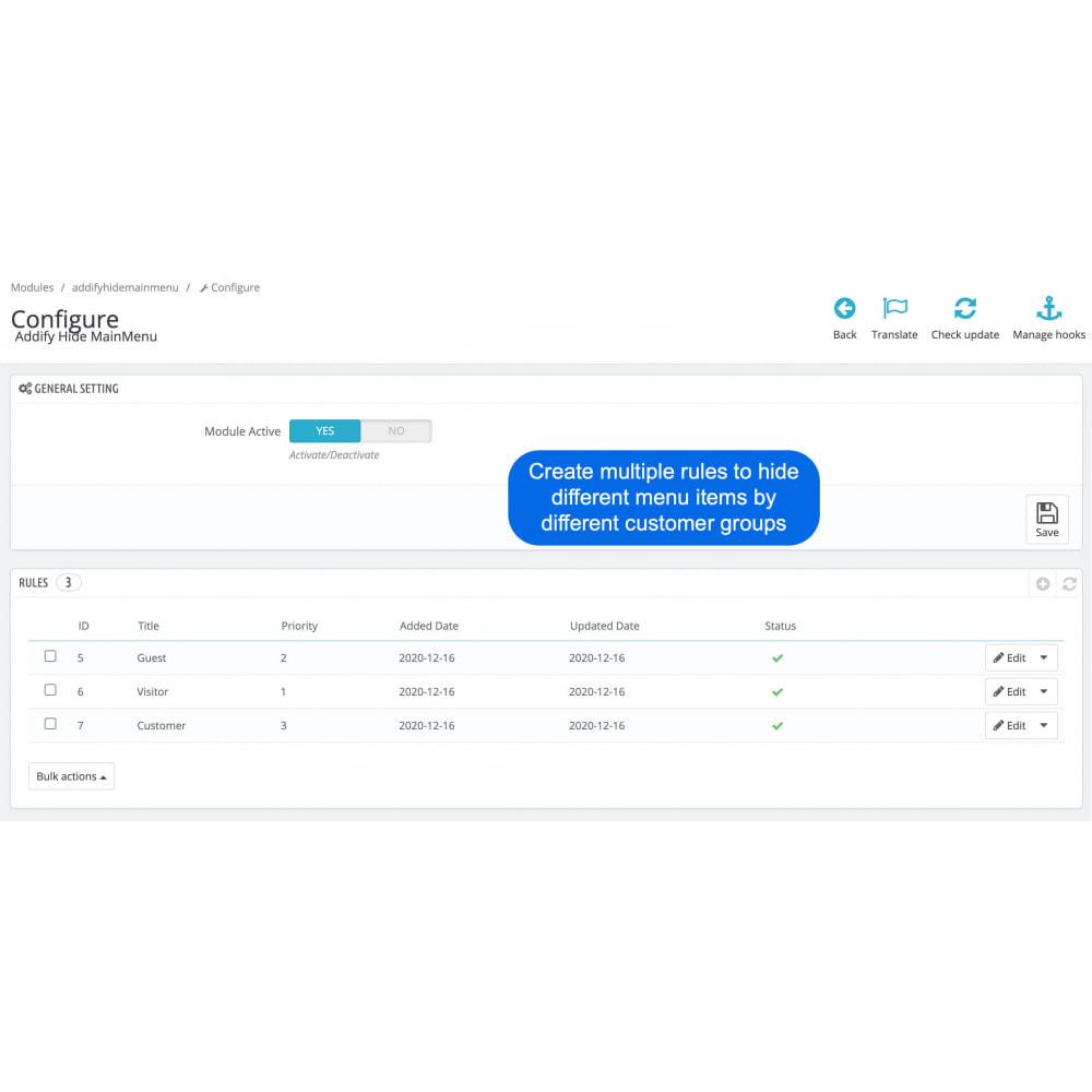 module - Customer Administration - Hide Menu Items by Customer Groups - 3