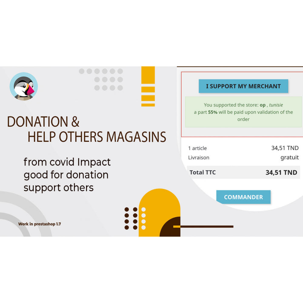 module - Additional Information & Product Tab - Donation and Help others Magasins - 1