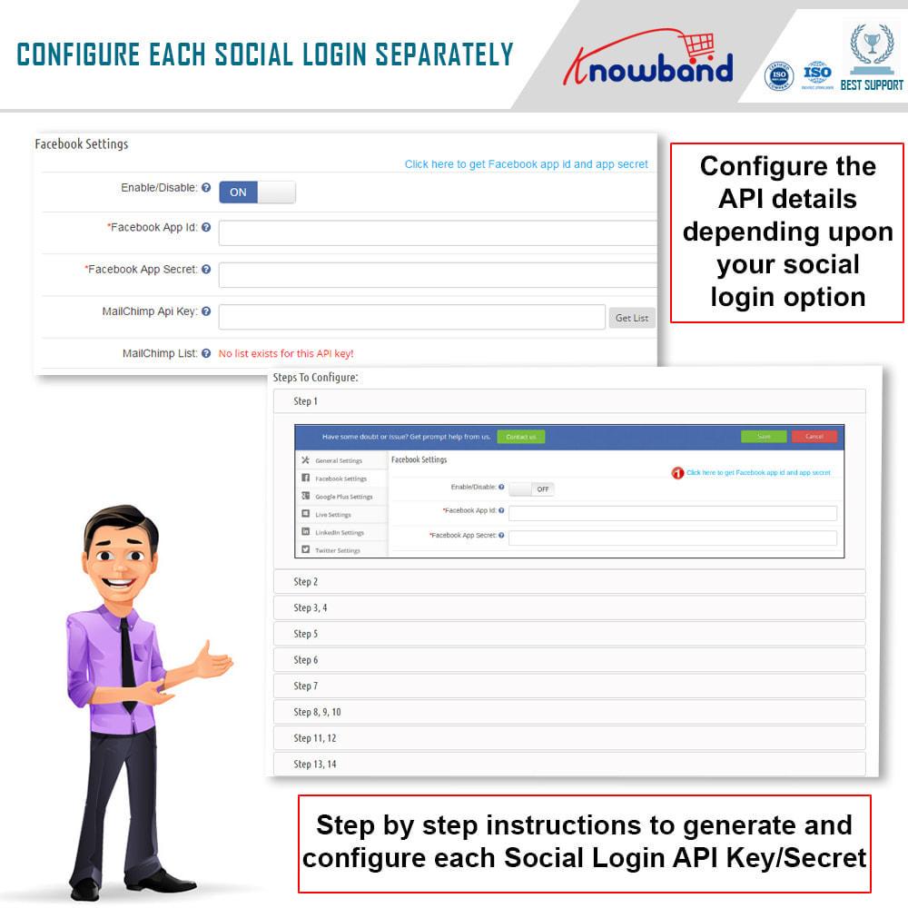 module - Login & Verbinden - Knowband-Social Login 14 in 1,Statistiken und Mailchimp - 2