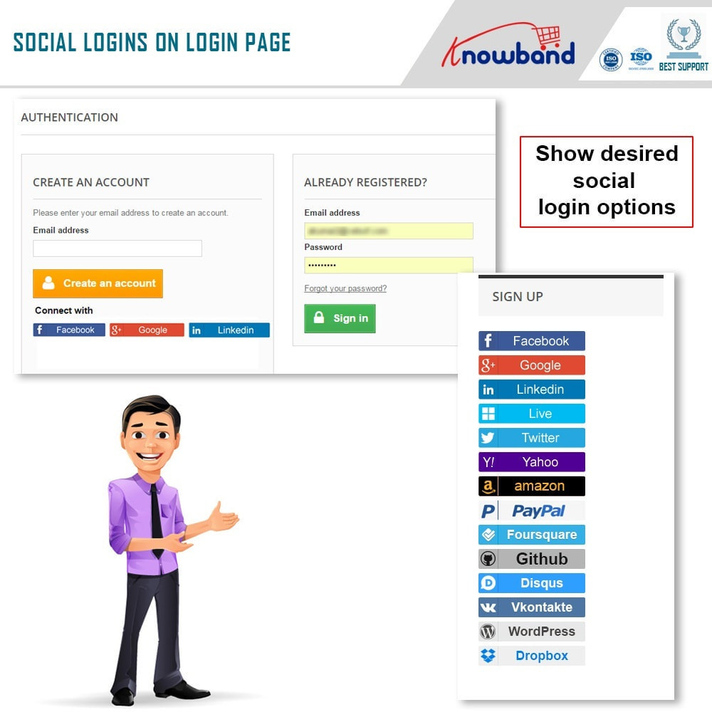 module - Login & Verbinden - Knowband-Social Login 14 in 1,Statistiken und Mailchimp - 4