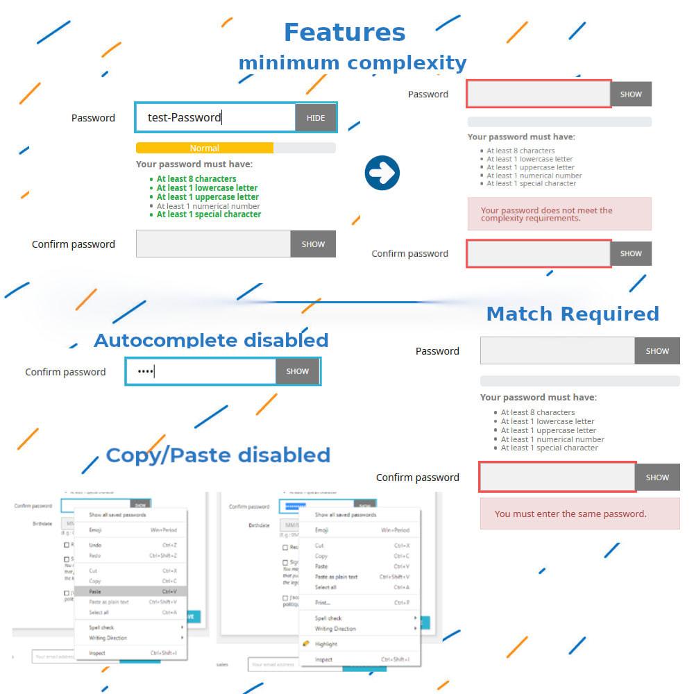 module - Pегистрации и оформления заказа - Confirm Password And Complexity - 1