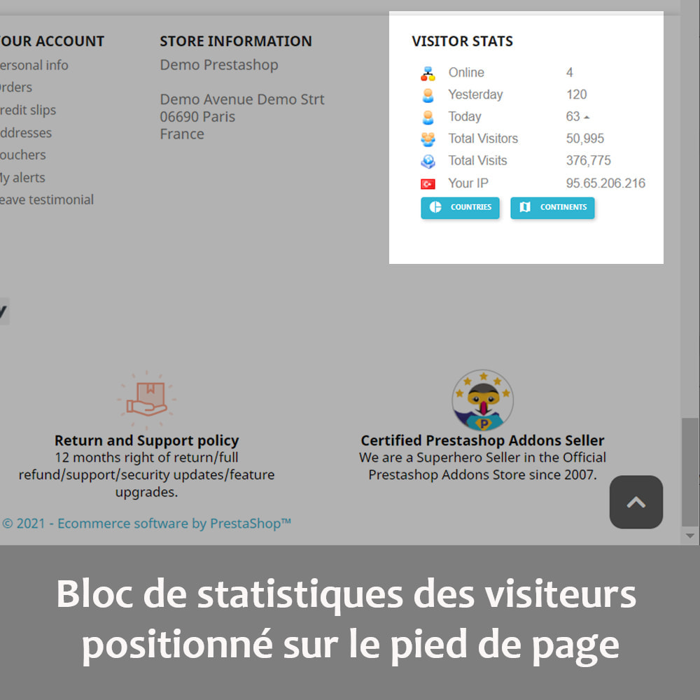 module - Personnalisation de Page - Statistiques des visiteurs sur la page d'accueil - 4