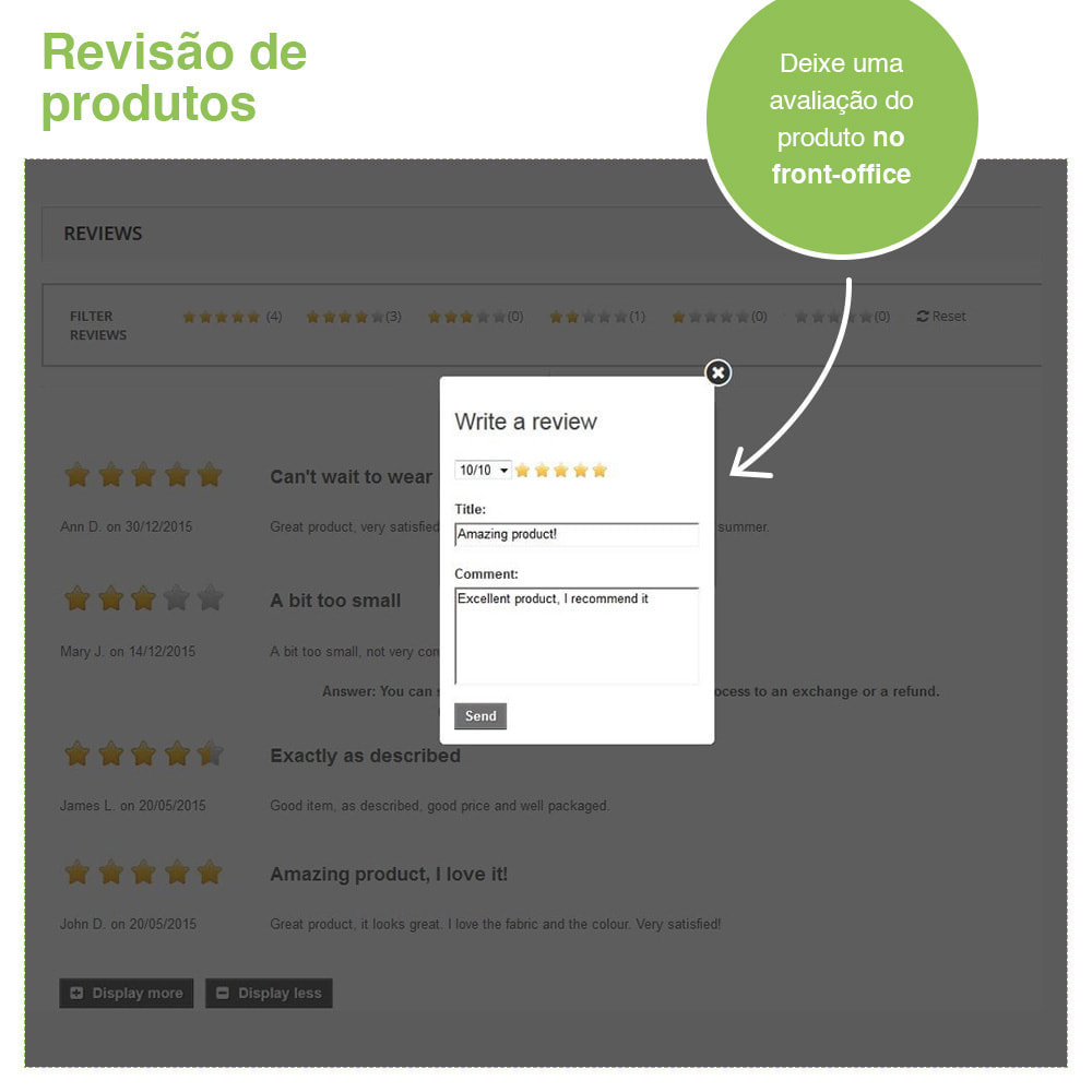 module - Opiniões de clientes - Opiniões de loja + produto  Opiniões + Snippets - 20