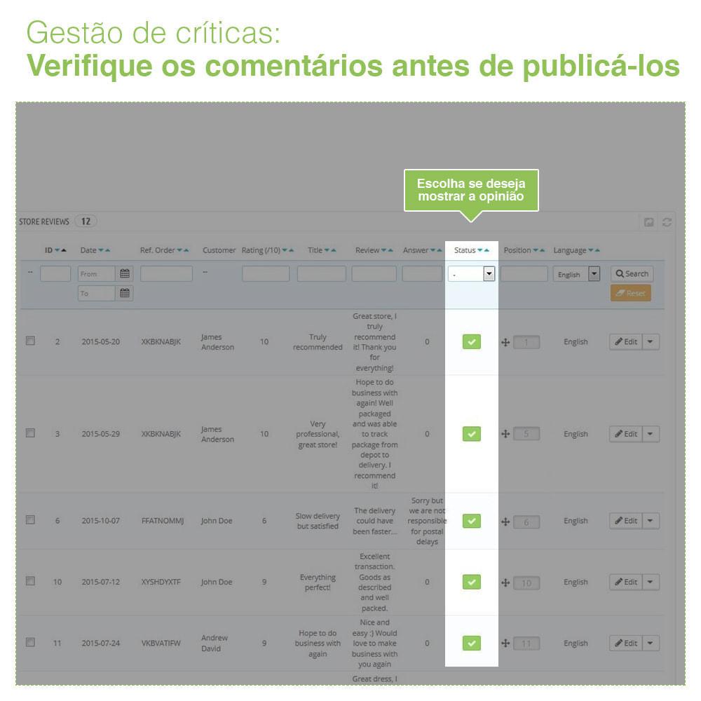 module - Opiniões de clientes - Opiniões de loja + produto  Opiniões + Snippets - 35
