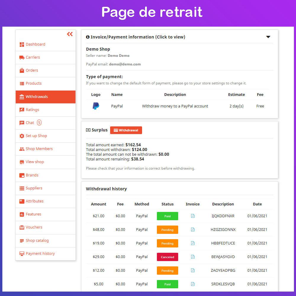 module - Création de Marketplace - Marché du commerce électronique multi-vendeurs - 16