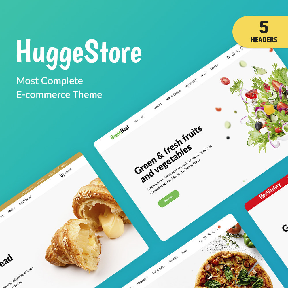 theme - Food & Restaurant - HuggeStore - 1