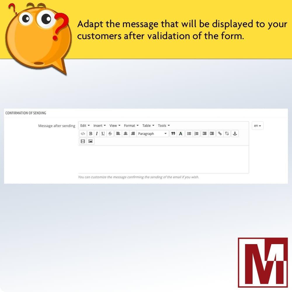 module - Formulário de contato & Pesquisas - Dynamic contact form on product page - 10