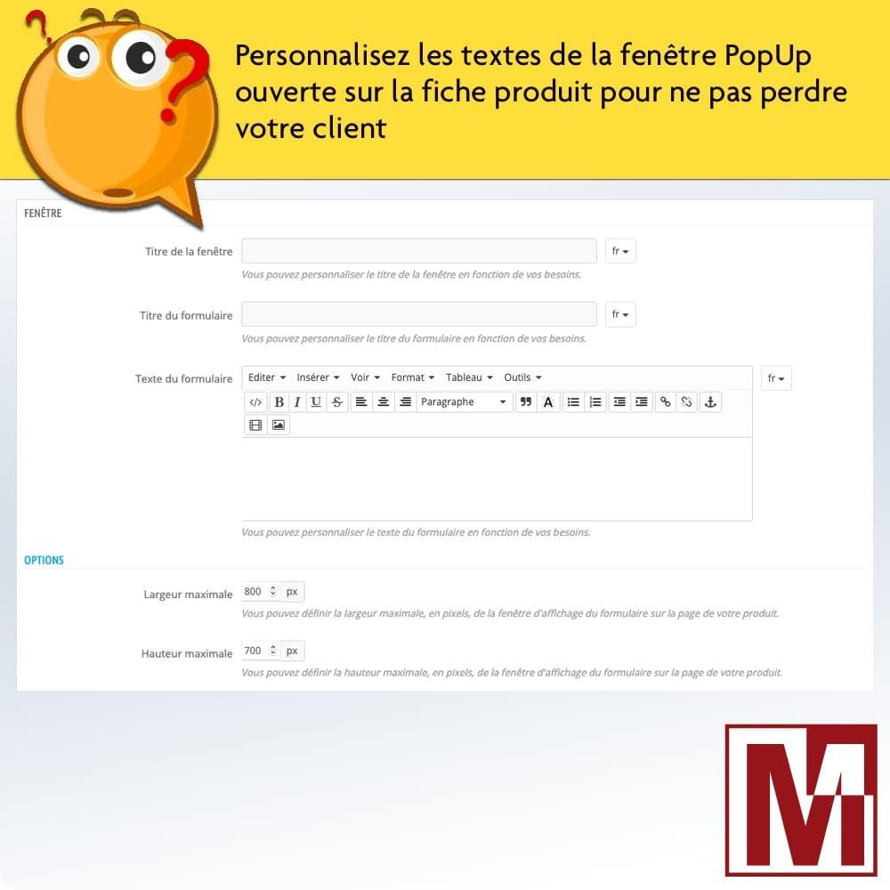 module - Formulaires de Contact & Sondages - Formulaire de contact dynamique sur page produit - 9