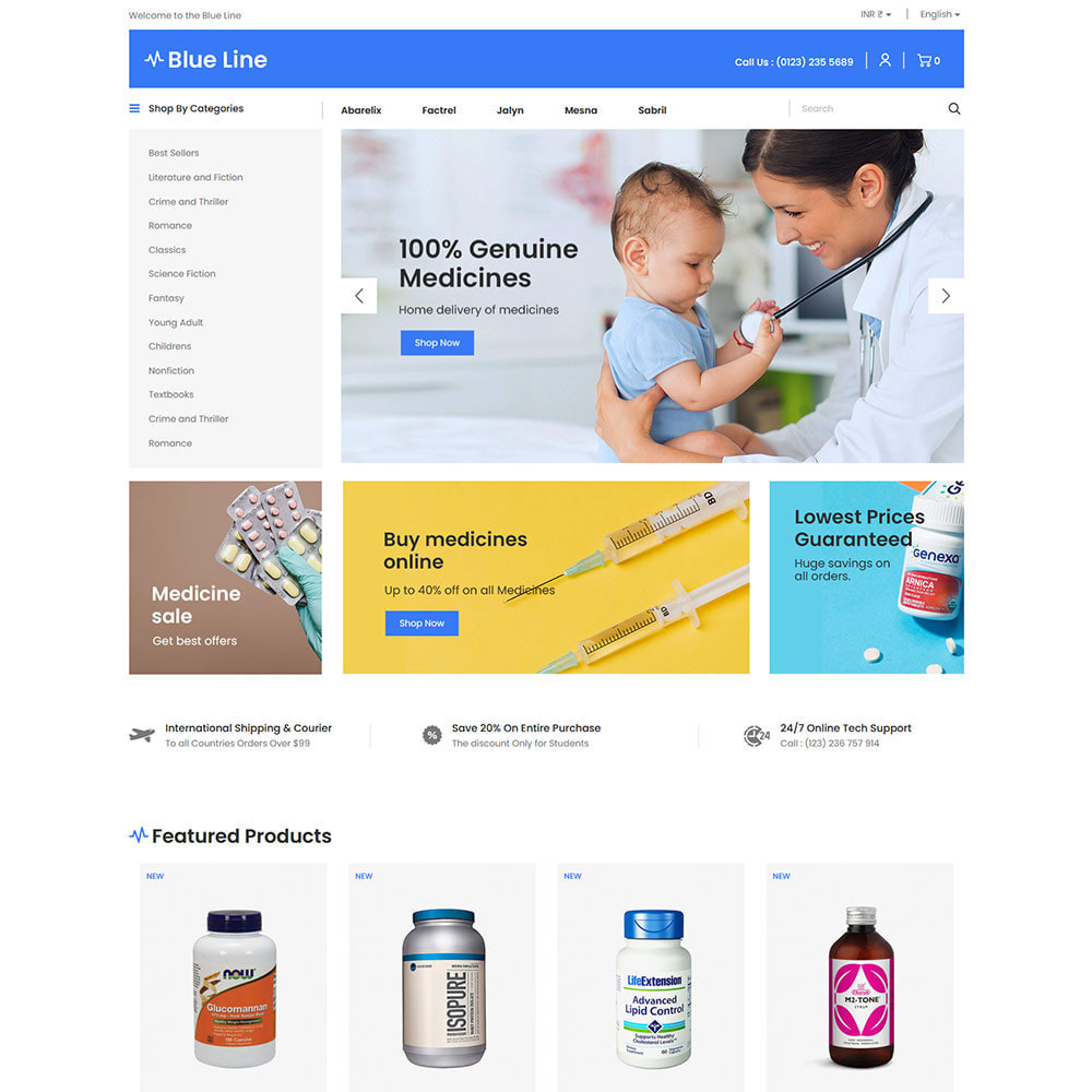 theme - Health & Beauty - Blue Line - Medical Vitamin Store - 2