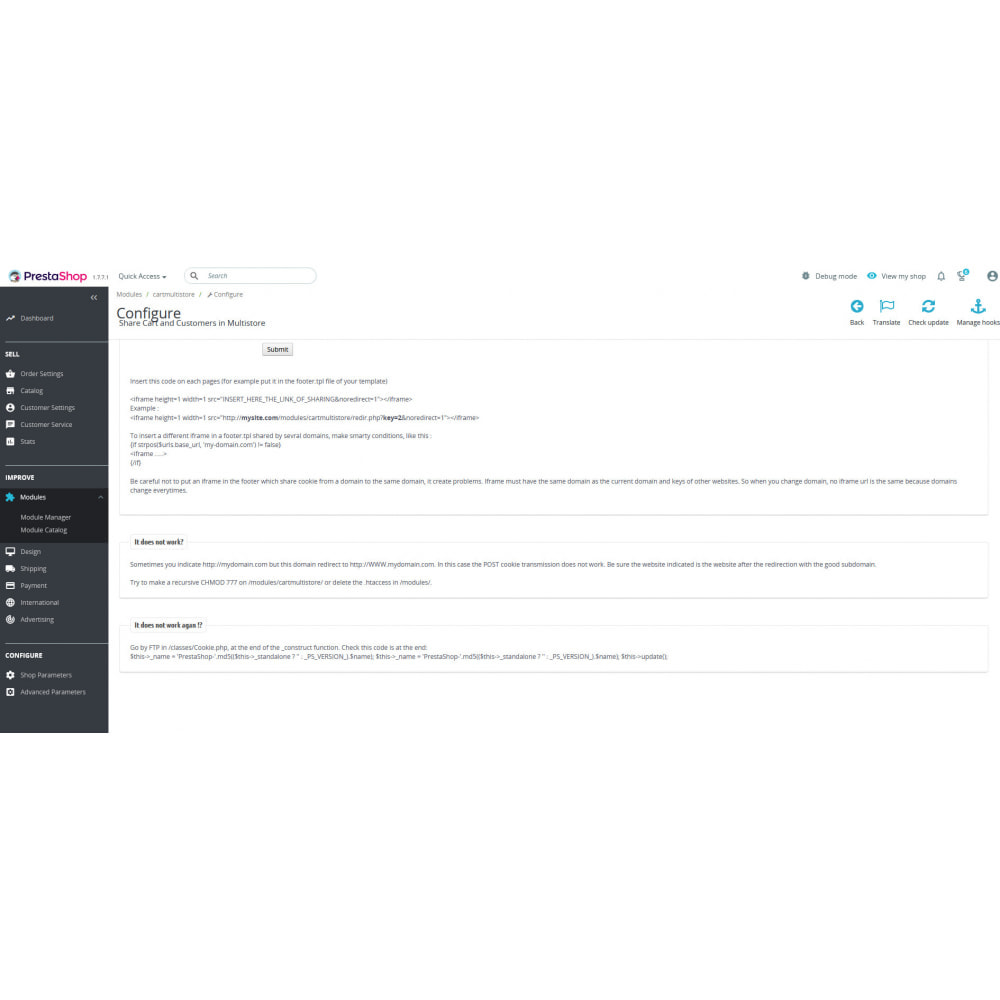 module - Ferramentas de Administração - Share Cart & Customer in Multistore cross domain - 3