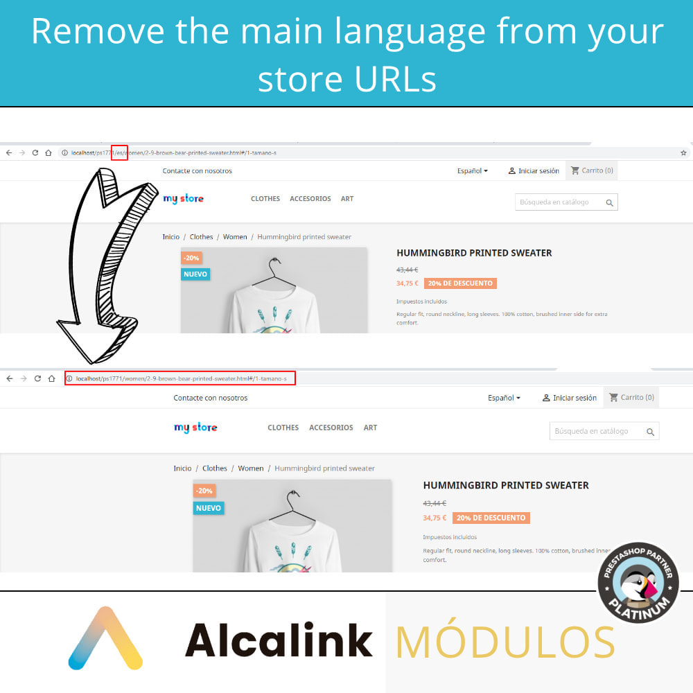 module - URL & Redirects - Remove main language URL - SEO - 2