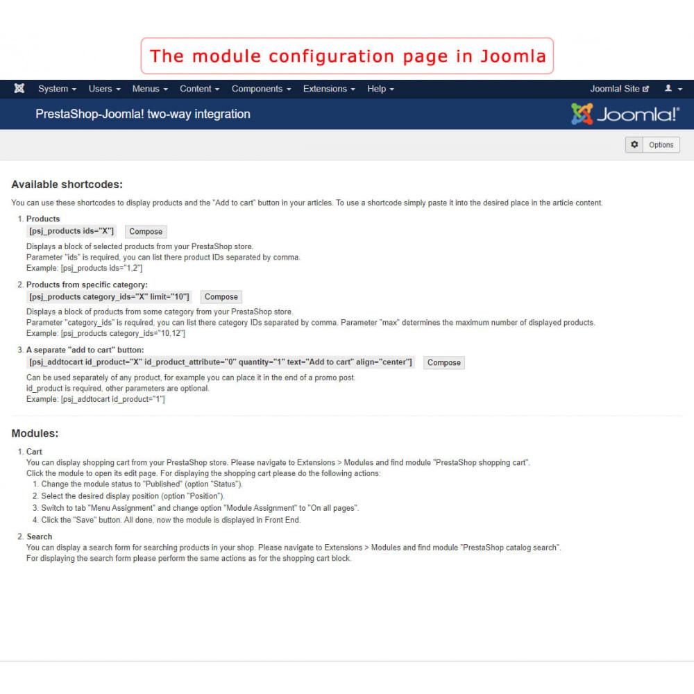 module - Marktplätze - PrestaShop-Joomla! two-way integration - 13