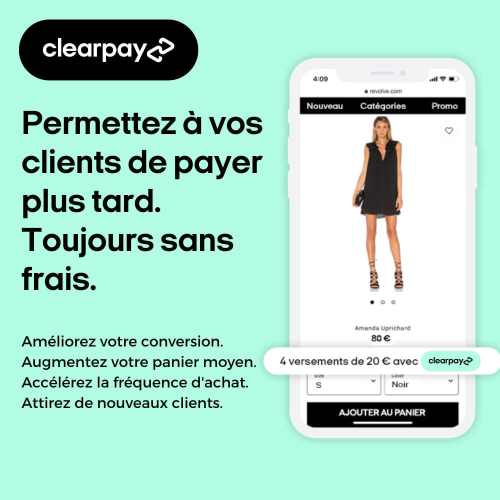 module - Paiement - Clearpay - Achetez maintenant, Payez plus tard, Sans frais - 1