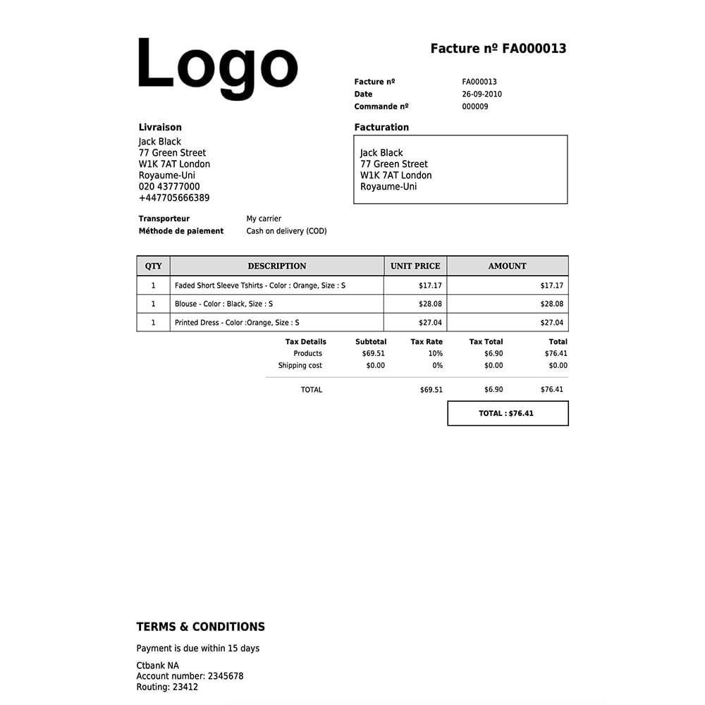 module - Contabilidad y Facturas - DocumenThemix: Plantilla de factura, crédito, entrega - 7