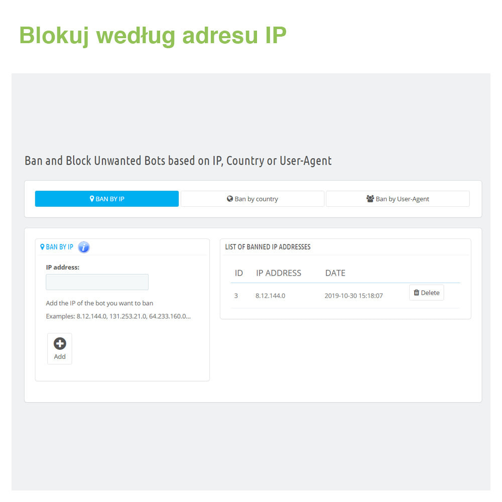 module - Bezpieczeństwa & Dostępu - Block Bots: Blokuj Boty przez IP, Kraj i User-Agent - 2