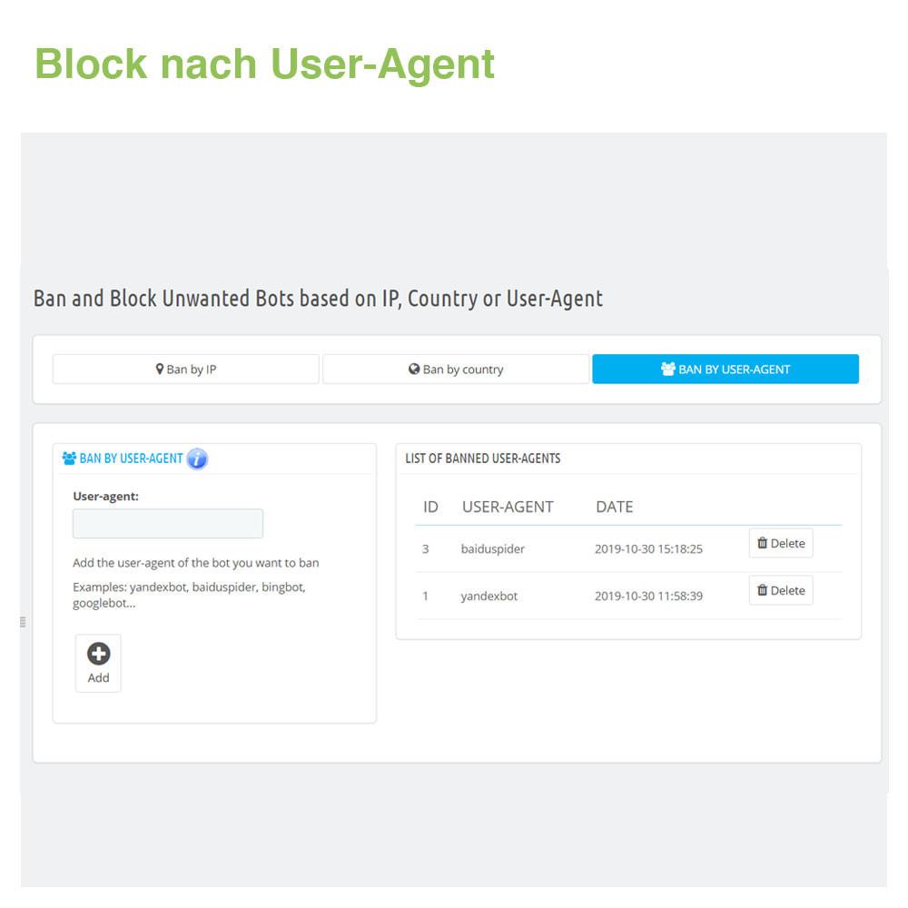 module - Sicherheit & Berechtigungen - Ban&Block Bots basierend auf IP, Land oder User-Agent - 4