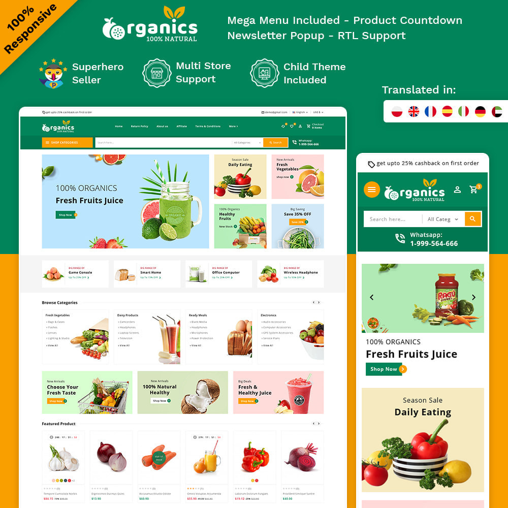 theme - Alimentos & Restaurantes - Organics - Fresh Food Delivery Store - 1