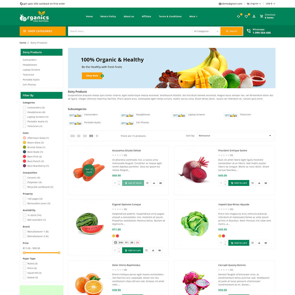 theme - Alimentation & Restauration - Organics - Fresh Food Delivery Store - 6