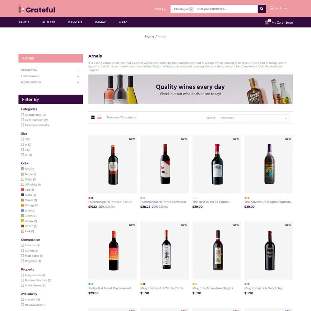 theme - Drank & Tabak - Grateful Wine - Alcohol Beer Red Wine Store - 3