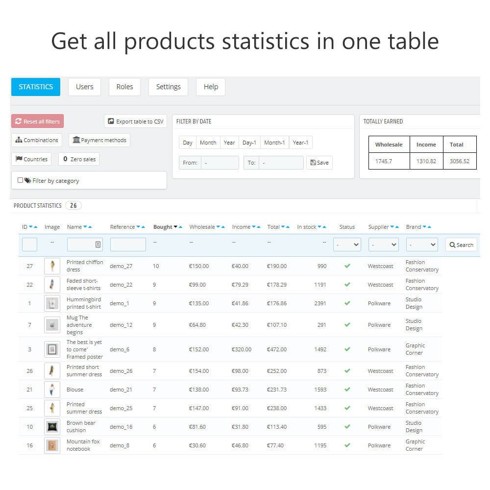 module - Analyses & Statistiques - Product Sales Reports, Statistics for Your Partners - 2