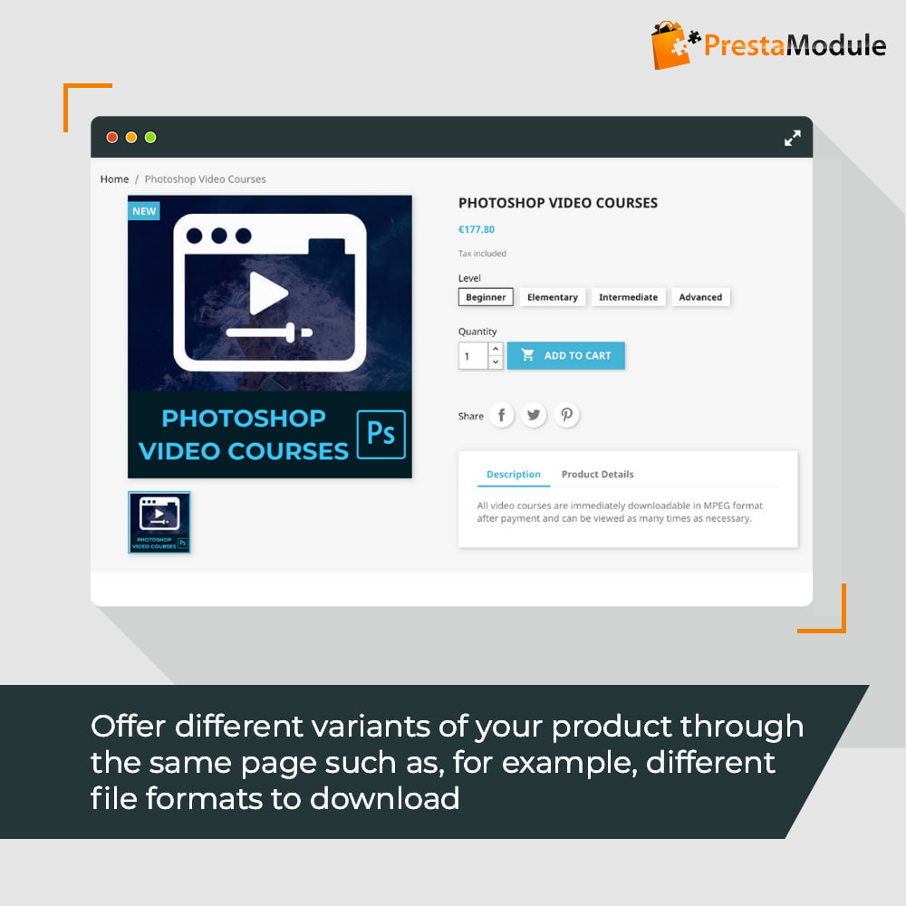 module - Productos Digitales (de descarga) - Virtual Products with Combinations - 2
