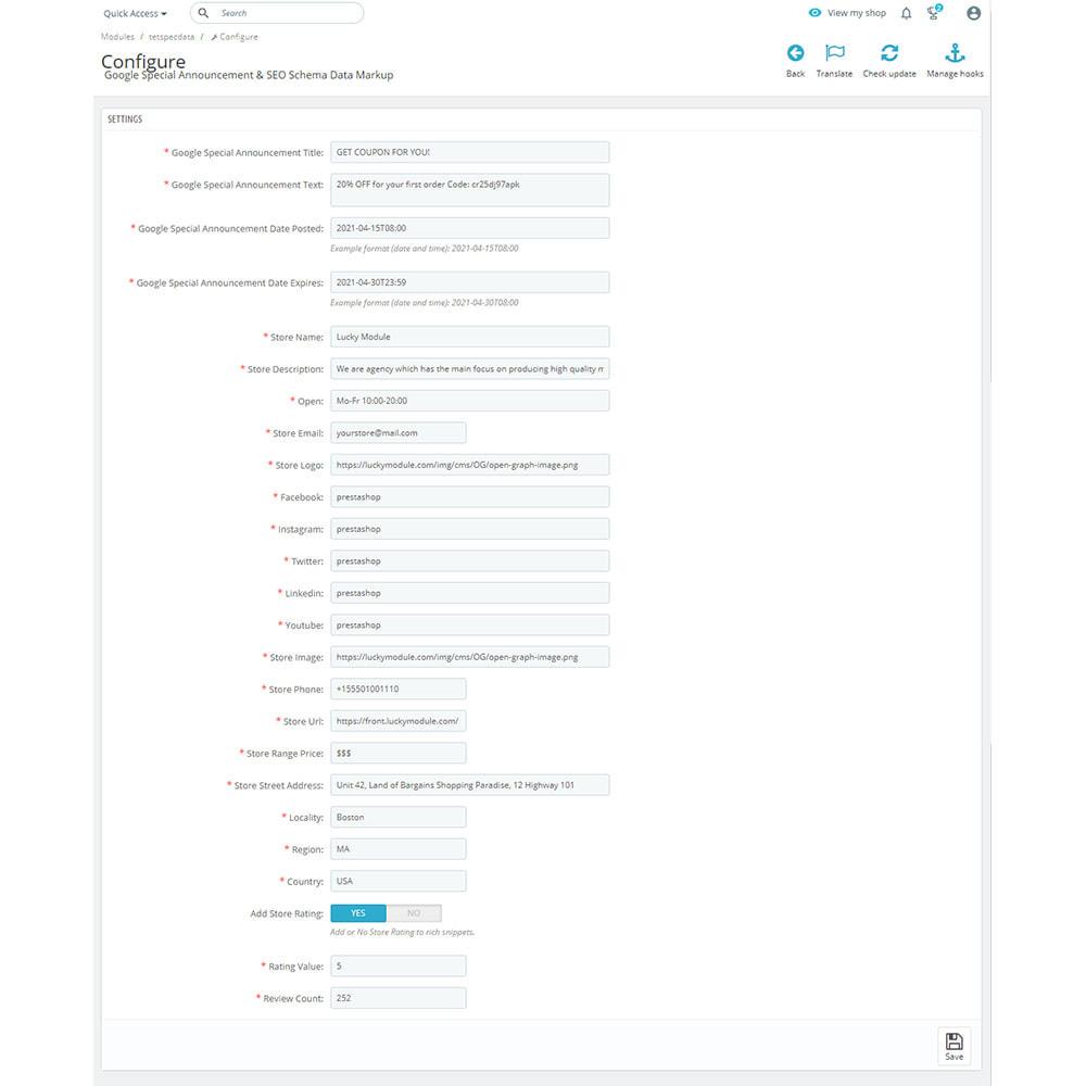 module - SEO (Indicizzazione naturale) - Google Special Announcement & SEO Schema Data Markup - 8