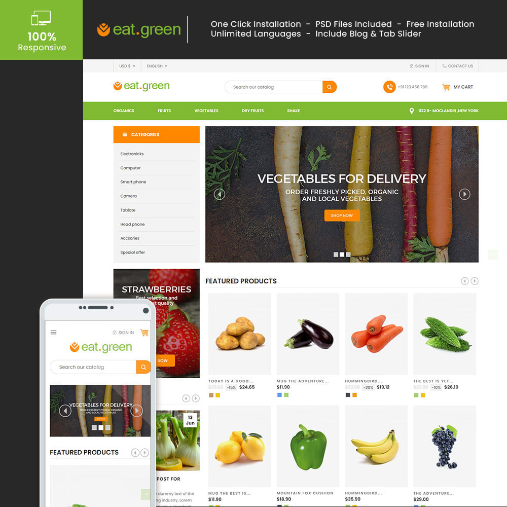 theme - Продовольствие и рестораны - Eat Green - Fruit Vegitable Organic Food Store - 1